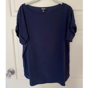 DKNY navy blue chiffon blouse (NWOT)